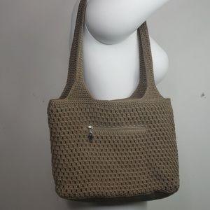 The Sak crocheted purse. Tan